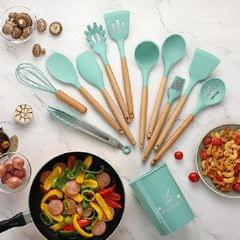 11 PCS / Set Wooden Handle Kitchenware Kitchen Non-stick Pan Cooking Spatula Spoon (Agate Green)