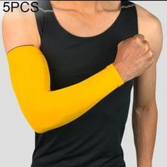 5 PCS Breathable Quick Dry UV Protection Running Arm Sleeves Basketball Elbow Pad Fitness Armguards Sports Cycling Arm Warmers (Yellow)
