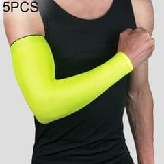 5 PCS Breathable Quick Dry UV Protection Running Arm Sleeves Basketball Elbow Pad Fitness Armguards Sports Cycling Arm Warmers (Green)