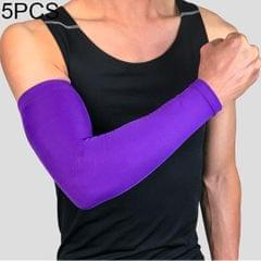 5 PCS Breathable Quick Dry UV Protection Running Arm Sleeves Basketball Elbow Pad Fitness Armguards Sports Cycling Arm Warmers (Purple)