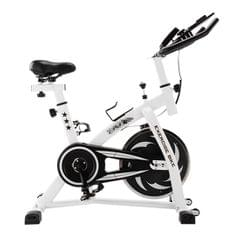 S-350 Indoor Silent Spinning Bike Fitness Bicycle with Adjustable Seat / Handle & Beverage Holder & Mobile Phone / Tablet PC Holder & LCD Monitor, Bearing Capacity: 130kg (Black White)