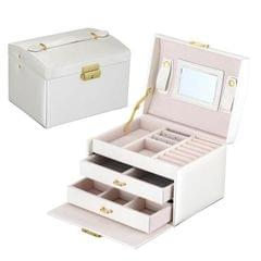Simple Portable Jewelry Box Earrings Ring Storage Consolidation Box with Drawers, Size : 17.5 x 14 x 13cm (White)