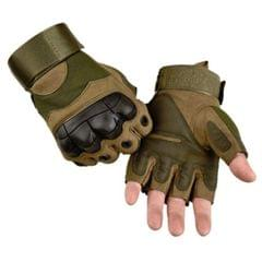 Male Half-finger Knife-resistant Riding Fighting Training Non-slip Wear-resistant Breathable Gloves, Size:M (Green)