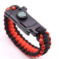 5 in 1 Outdoor Camping Rescue Bracelet with Flint & High-precision Mini Compass & Rope Cutter & Survival Whistle & Umbrella Rope Function (Red Black)