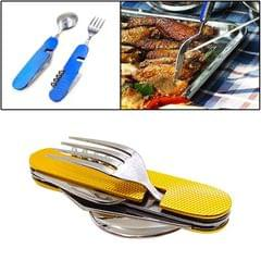 4-in-1 Stainless Steel Travel / Camping Folding Cutlery Set, Spoon + Fork + Knife +  Bottle Opener Set (Yellow)