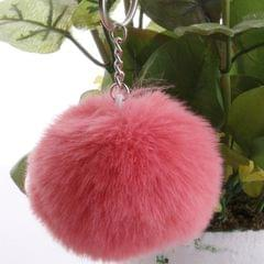 Simple Key Chain Fur Ball Pompon Keychain Pompom Artificial Rabbit Fur Animal Keychains for Woman Car Bag Key Rings (Watermelon Red)