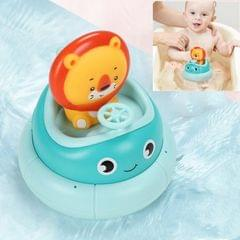 Children Bathroom Electric Rotating Cup Water Spray Bathing Puzzle Water Toy (Blue Lion)