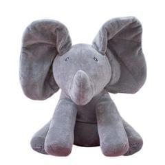 Singing Elephant/Bear Electronic Music Plush Toy Game Doll Educational soft stuffed Comfort Toy Gift for Children (gray)