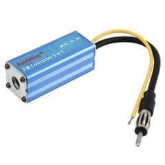 DC 12V 16MHz Car Auto Automobile Blue Aluminum MP3 FM Convertor Adapter Impedance Converter T-3X Car Audio Accessories
