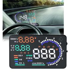 A8 5.5 inch Car OBDII HUD Warning System Vehicle-mounted Head Up Display Projector with LED, Support Fuel Consumption & Over Speed Alarm & Water Temperature & Fault Diagnosis
