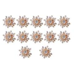 10 Pieces 15mm Gold Plated Metal Diamante Flower Buttons Embellishments Crystal Buttons Flatback DIY Accessories Sewing Fasteners Wedding Decorations
