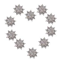 10 Pieces 17mm Silver Plated Metal Diamante Flower Buttons Crystal Buttons Flatback Embellishments DIY Accessories Sewing Wedding Decorations