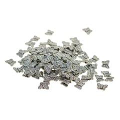 LOT 100 Pieces MINI Tibetan Silver Spacer Beads, Cute Butterfly Shape Loose Beads Charms for DIY Earrings, Bracelets, Necklaces (10 x 8 mm)