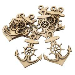 10 Pieces Wooden Anchor Shape Tags Cutouts Hanging Embellishments DIY Decoration