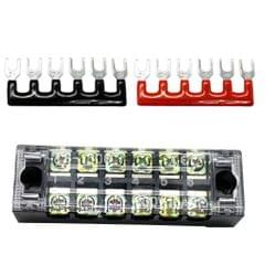 600V 15A 6 Positions Double Row Screw Terminal Block and 6P Strips Kits