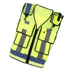 Multi Pocket High Visibility Zipper Front Safety Vest With Reflective Strips