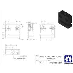 3D Printer T8 8mm Screw Nut Seat Block, 2mm Thread Pitch 2mm Lead