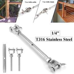 Stainless Steel Closed Body Turnbuckle Jaw Wire Rope Fork Rigging Screw M10