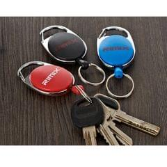 Retractable Keychain Carabiner Badge Recoil Reel Key Ring Holder Clip Blue