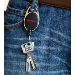 Retractable Keychain Carabiner Badge Recoil Reel Key Ring Holder Clip Black