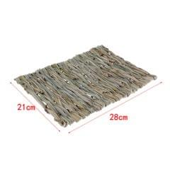 2 PCS Handwoven Straw Cage Mat Sleep Bed and Chew Toy for Small Pet Rabbit