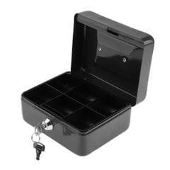 Practical Mini Cash Money Box Stainless Steel Security Lock Safe Metal Black
