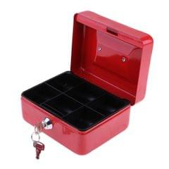Practical Mini Cash Money Box Stainless Steel Security Lock Safe Metal Red