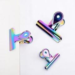 5pcs Rainbow Bulldog Clips Hinge Clip Clamp Office Binder Supply  2cm