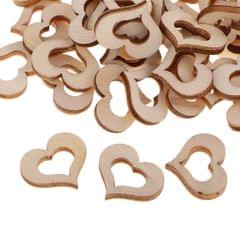 100 Pieces Blank Hollow Wooden Heart Embellishments Crafts Party Event 2cm