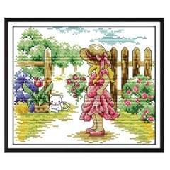 Girl in Garden Stamped Cross Stitch Kit DIY Handmade Needlework 26x21cm 14CT