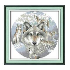 Stamped Cross Stitch Kit for Beginners Printed Wolf Pattern 14CT 38 x 38cm