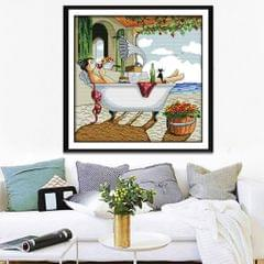 Enjoy Life Stamped Cross Stitch Kit for Beginners DIY Counted 14CT 35 x 35cm