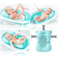 Baby Bath Tub Pillow Pad Air Cushion Floating Seat Shower Mat Blue