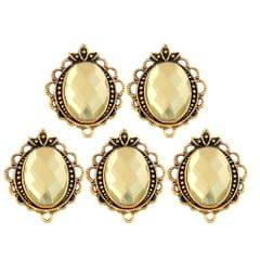 5PCS/Lot Crystal Rihnestone Round Pendant DIY Jewelry Pendant Light Yellow