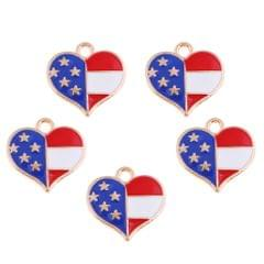 5 Pcs/Lot Colorul Stars and Stripes Pendant Jewelry Accessary DIY Love Heart