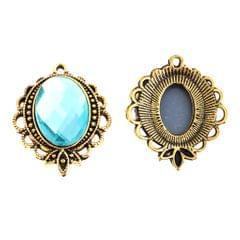 5PCS/Lot Crystal Rihnestone Round Pendant DIY Jewelry Pendant Acid Blue