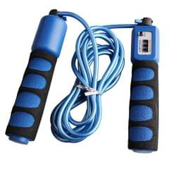 3m PVC Jump Skipping Rope with Counter and Anti-Slip Foam Handle  Blue