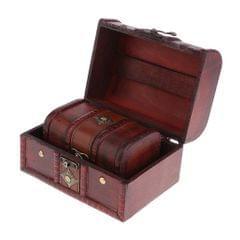 2PCS Vintage Wood Jewelry Box Necklace Bracelet Storage Organizer Case