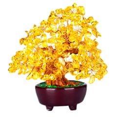 Mini Crystal Money Tree Bonsai Style Feng Shui Tree Home Office Decor Yellow