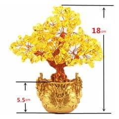 Crystal Money Tree Bring Wealth Luck Home Decor Birthday Gift 18cm Yellow