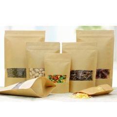 50x Kraft Paper Bag Stand Up Pouch Food Zip Lock Packaging w/ Window 14x22+4