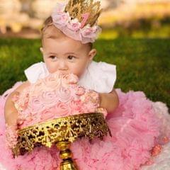 Lovely Baby Girl Glitter 1 Crown Hair Band Flower Tulle Headband Blue