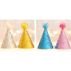 Baby Girl Boy Infant Toddler Glitter Sequined Birthday Party Cone Hat Blue