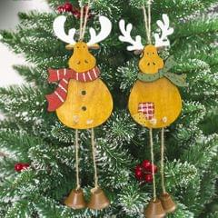 Christmas Wooden Reindeer Bell Hanger Gift Tag Xmas Tree Decoration Green