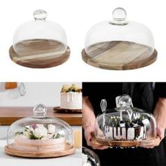 Wooden Plates Acacia Wood Rotating Serving Tray Cake Dishes Tableware Plate S with Lid