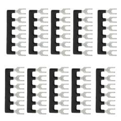 10x 6 Positions Fork Pre Insulated Terminal Block Barrier Jumper Strip Black