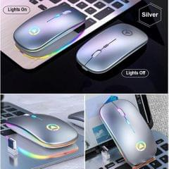 LED Backlit Silent 2.4GHz Wireless Mouse Rechargeable Optical Mice  Gray