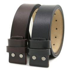 Leather Belt Snap-on Belt Strap 1.5''(38mm) Wide Belt No Buckle Black