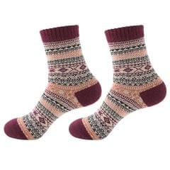Mens Thick Winter Wool Socks Soft Warm Socks Casual Crew Socks Red