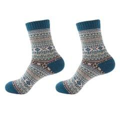 Mens Thick Winter Wool Socks Soft Warm Socks Casual Crew Socks Blue